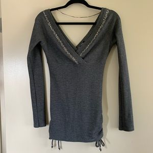 New Guess | Dark Gray Sequin Knit V-Neck Sweater S